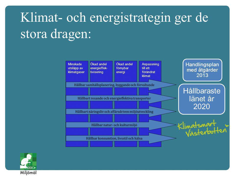 Klimat- och energistrategin ger de stora dragen: Hållbaraste länet år 2020 Minskade utsläpp av klimatgaser Ökad andel energieffek- tivisering Ökad andel förnybar energi Anpassning till ett förändrat klimat Handlingsplan med åtgärder 2013