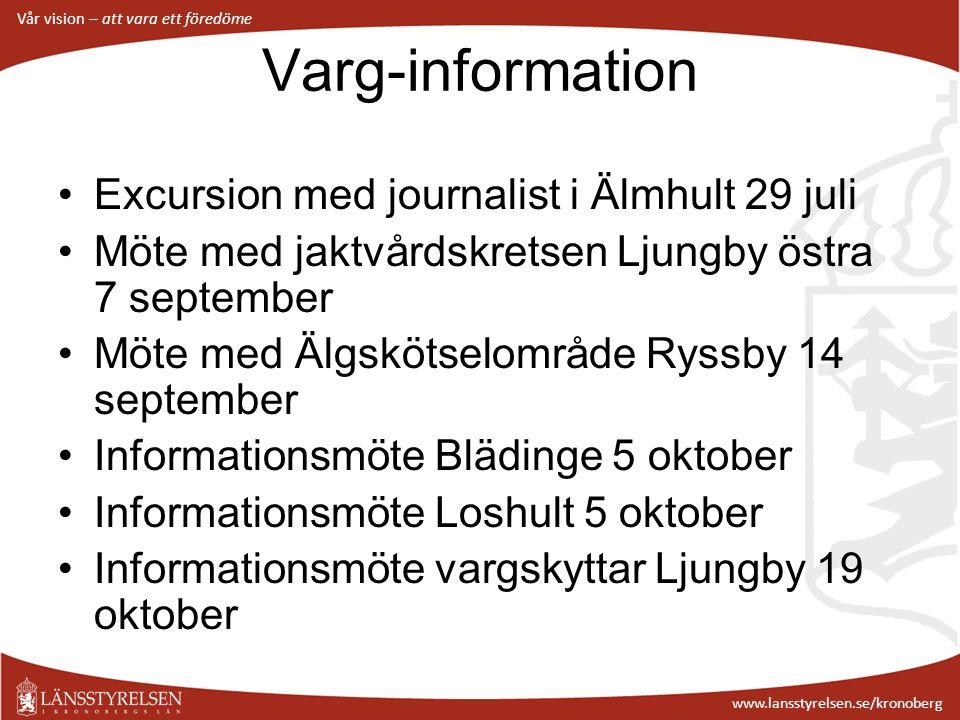 Vår vision – att vara ett föredöme www.lansstyrelsen.se/kronoberg Varg-information Excursion med journalist i Älmhult 29 juli Möte med jaktvårdskretse