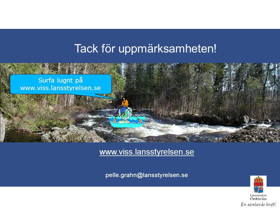 Tack för uppmärksamheten. www.viss.lansstyrelsen.se pelle.grahn@lansstyrelsen.se En samlande kraft.