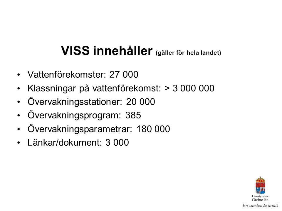 Dagens VISS är dataregistreringar fr.o.m.ca 2007 inkl.
