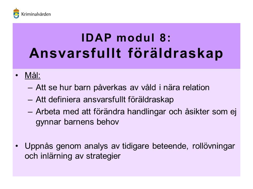 IDAP modul 8: Ansvarsfullt föräldraskap Mål: –Att se hur barn påverkas av våld i nära relation –Att definiera ansvarsfullt föräldraskap –Arbeta med at