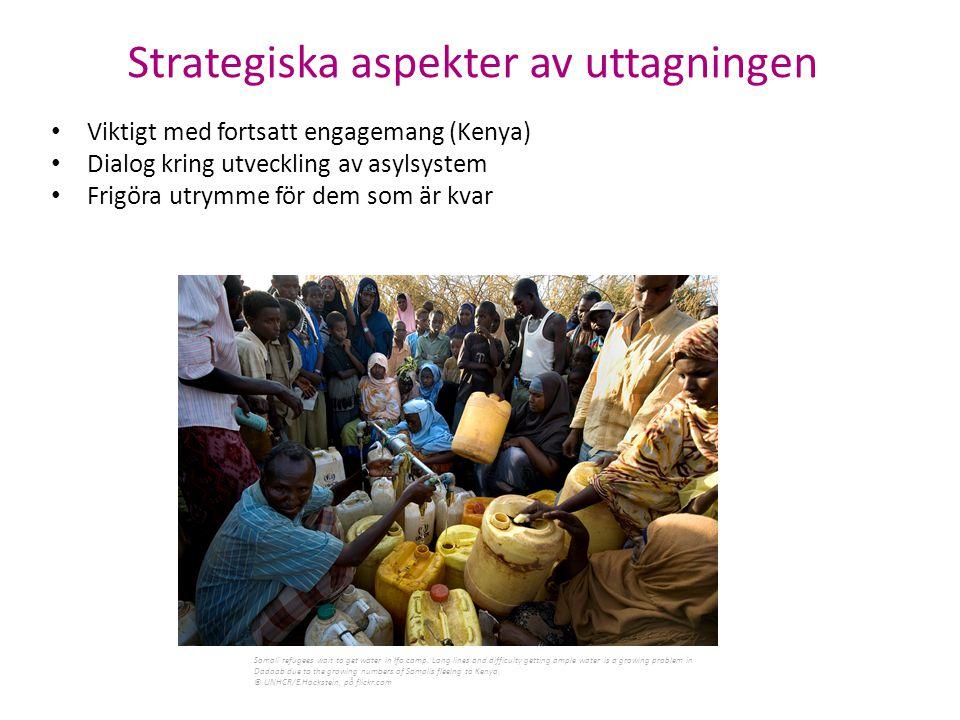 Viktigt med fortsatt engagemang (Kenya) Dialog kring utveckling av asylsystem Frigöra utrymme för dem som är kvar Somali refugees wait to get water in