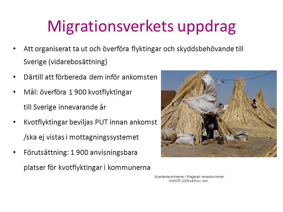 Migrationsverkets uppdrag Att organiserat ta ut och överföra flyktingar och skyddsbehövande till Sverige (vidarebosättning) Därtill att förbereda dem