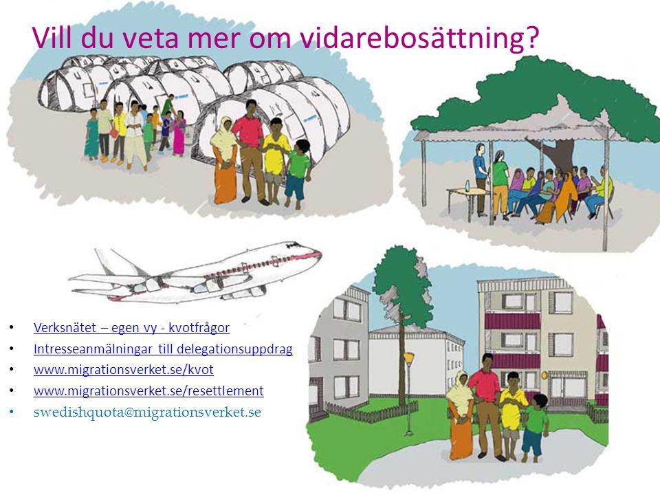 Verksnätet – egen vy - kvotfrågor Intresseanmälningar till delegationsuppdrag www.migrationsverket.se/kvot www.migrationsverket.se/resettlement swedis