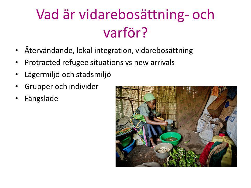 Vad är vidarebosättning- och varför? Återvändande, lokal integration, vidarebosättning Protracted refugee situations vs new arrivals Lägermiljö och st