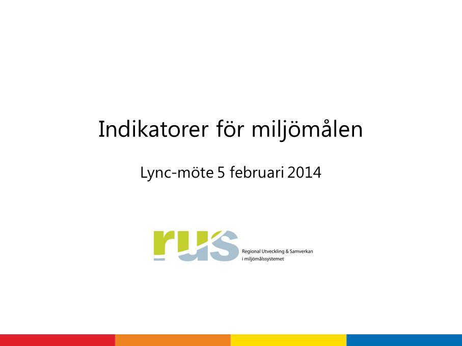 Lync-möte 5 februari 2014 Indikatorer för miljömålen