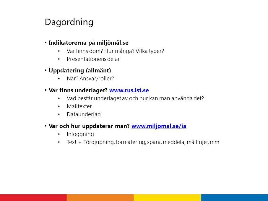 Dagordning Indikatorerna på miljömål.se Var finns dom.
