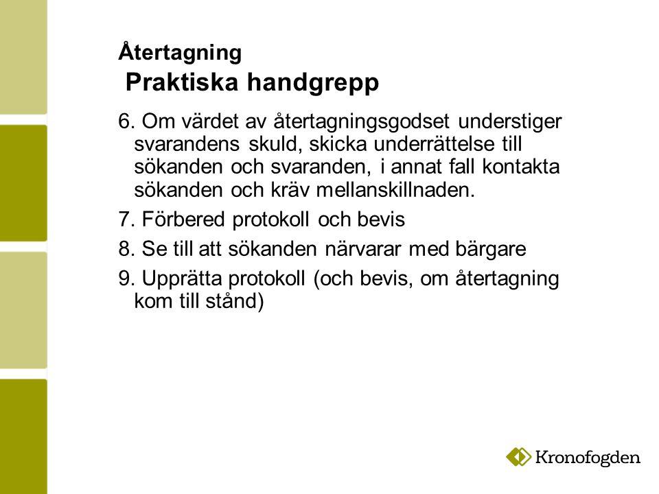 Återtagning Praktiska handgrepp 6.
