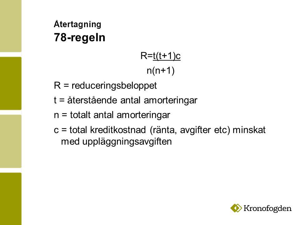 Återtagning 78-regeln R=t(t+1)c n(n+1) R = reduceringsbeloppet t = återstående antal amorteringar n = totalt antal amorteringar c = total kreditkostnad (ränta, avgifter etc) minskat med uppläggningsavgiften