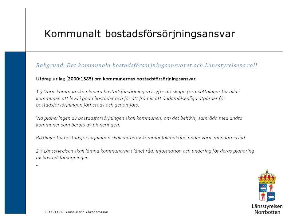 Förslag på diskussionsfrågor och informationspunkter, exempelvis: Bostadsbristen i länet; statistik från BME 2012 Bostadsbyggandet i länet; statistik från BME 2012, statistik från SCB Befolkningsutveckling; statistik från SCB Bostäder, utbildning, infrastruktur och arbetskraftsförsörjning och kopplingen till regional utveckling Särskilt ansvar för svaga grupper i samhället 2011-11-16 Anna-Karin Abrahamsson