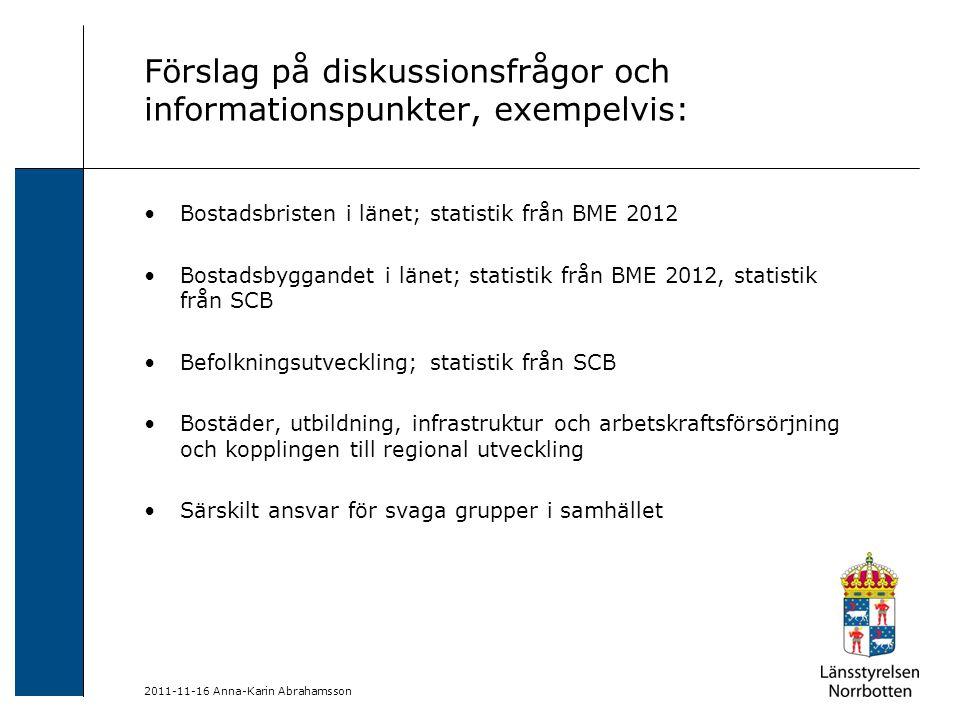 Förslag på diskussionsfrågor och informationspunkter, exempelvis: Bostadsbristen i länet; statistik från BME 2012 Bostadsbyggandet i länet; statistik