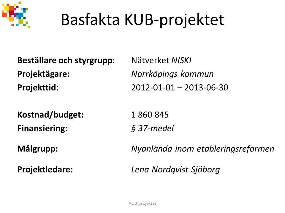Beställare och styrgrupp:Nätverket NISKI Projektägare:Norrköpings kommun Projekttid:2012-01-01 – 2013-06-30 Kostnad/budget:1 860 845 Finansiering: § 3