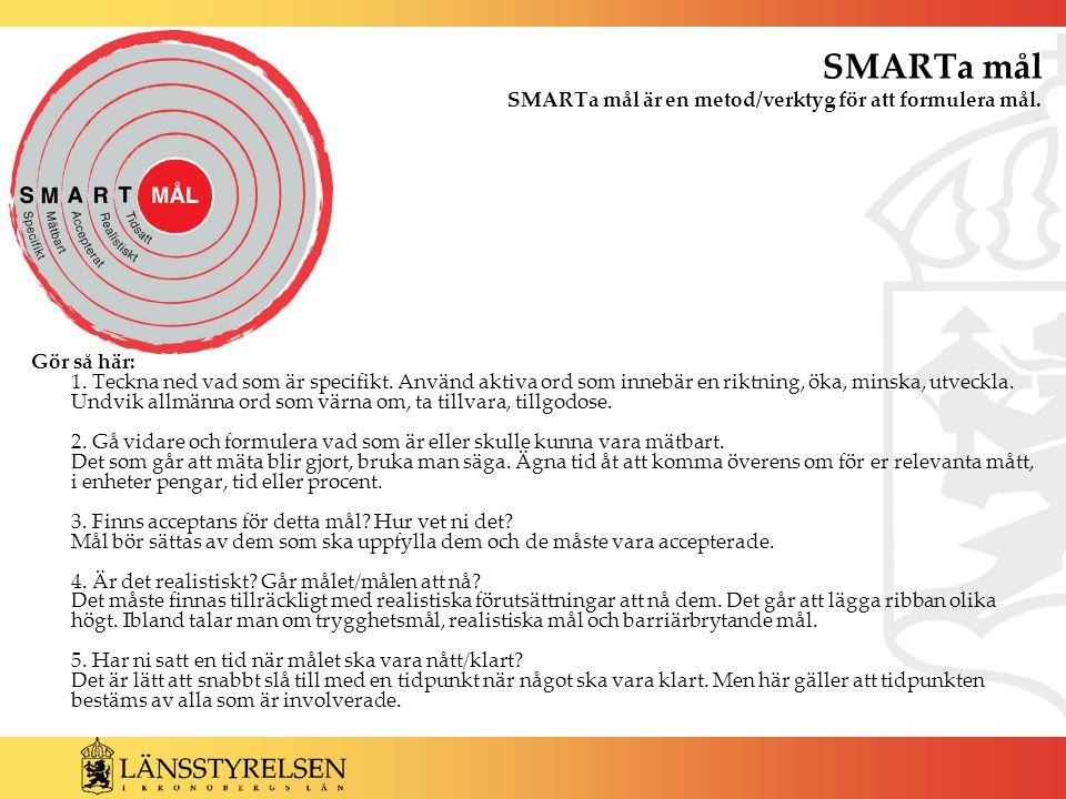 SMARTa mål SMARTa mål är en metod/verktyg för att formulera mål. Gör så här: 1. Teckna ned vad som är specifikt. Använd aktiva ord som innebär en rikt