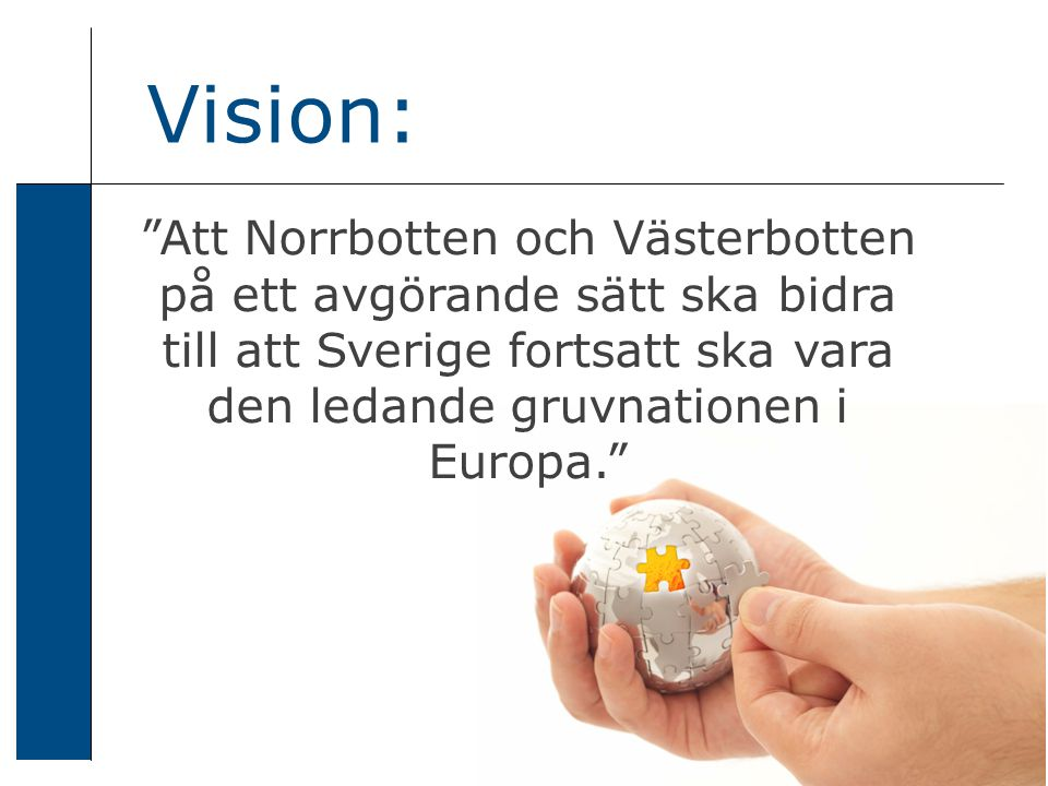 Att Norrbotten och Västerbotten på ett avgörande sätt ska bidra till att Sverige fortsatt ska vara den ledande gruvnationen i Europa. Vision: