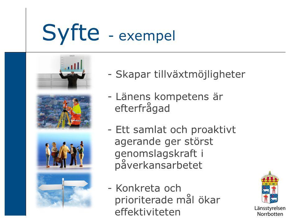 - Skapar tillväxtmöjligheter Syfte - exempel - Länens kompetens är efterfrågad - Ett samlat och proaktivt agerande ger störst genomslagskraft i påverkansarbetet - Konkreta och prioriterade mål ökar effektiviteten