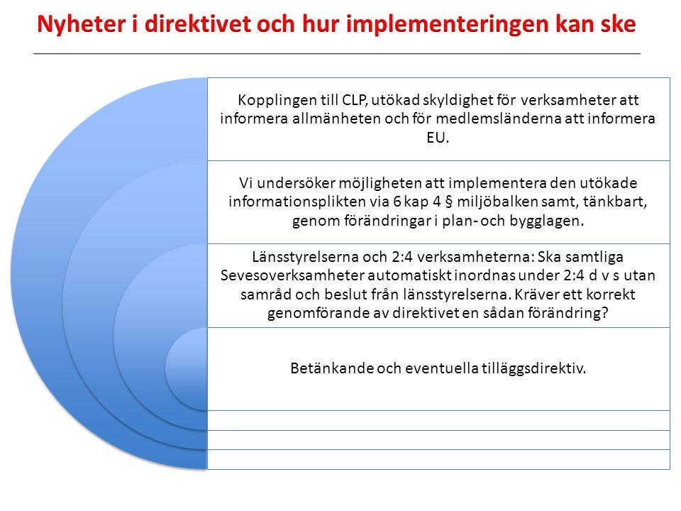 Tillämpningsområdet för direktivet och klassificeringen av kemikalier har anpassats till CLP förordningen 1272/2008 - farliga ämnen - farokategorier Uppgifter ska hållas tillgängliga för allmänheten
