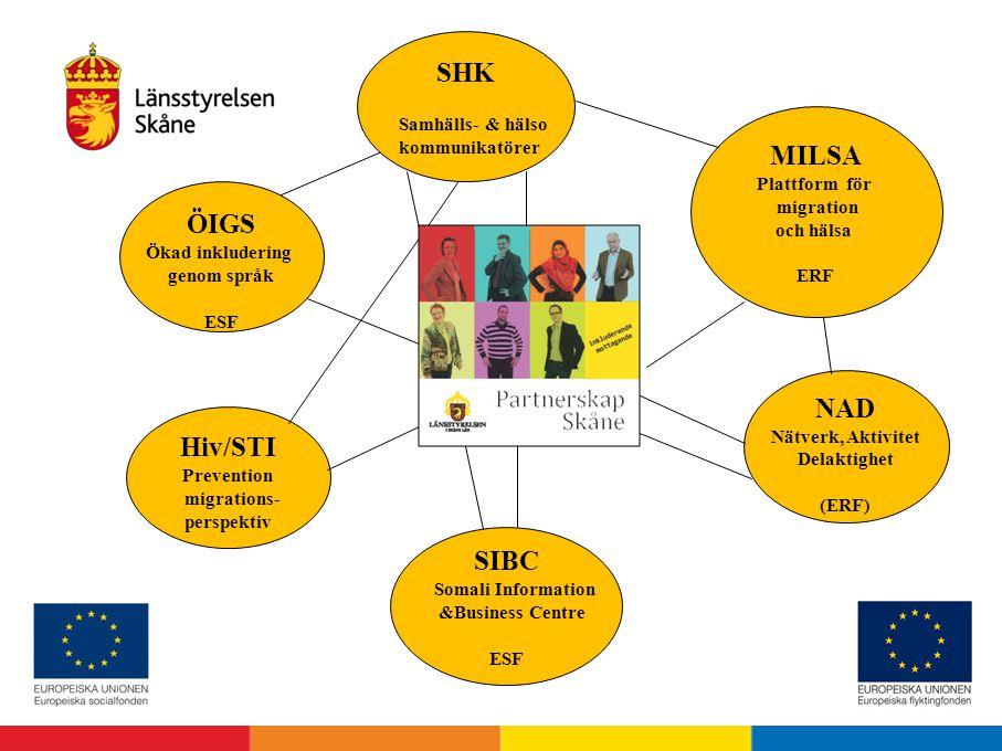 MILSA Plattform för migration och hälsa ERF ÖIGS Ökad inkludering genom språk ESF NAD Nätverk, Aktivitet Delaktighet (ERF) Hiv/STI Prevention migratio