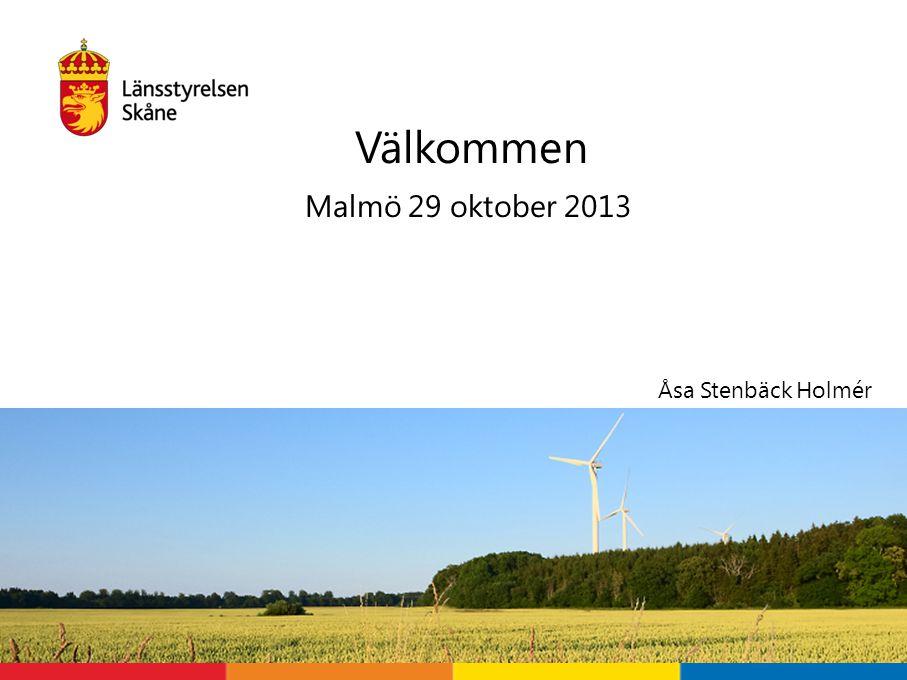 Malmö 29 oktober 2013 Välkommen Åsa Stenbäck Holmér