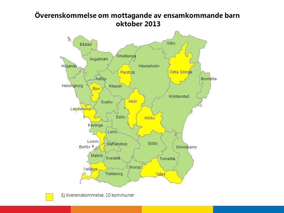 Överenskommelse om mottagande av ensamkommande barn oktober 2013 Ej överenskommelse, 10 kommuner