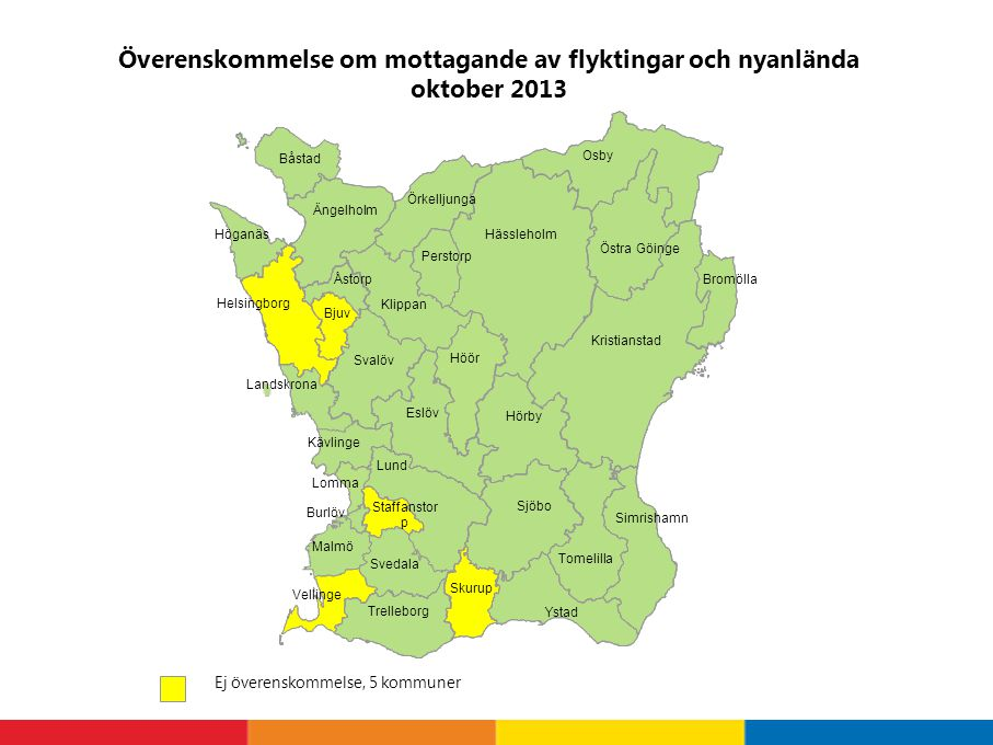 Överenskommelse om mottagande av flyktingar och nyanlända oktober 2013 Ej överenskommelse, 5 kommuner