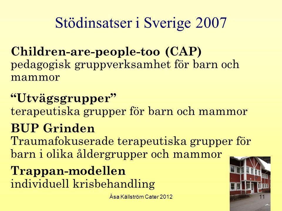 """Stödinsatser i Sverige 2007 Children-are-people-too (CAP) pedagogisk gruppverksamhet för barn och mammor """"Utvägsgrupper"""" terapeutiska grupper för barn"""