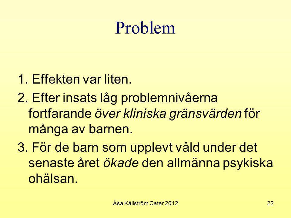 Problem 1. Effekten var liten. 2. Efter insats låg problemnivåerna fortfarande över kliniska gränsvärden för många av barnen. 3. För de barn som upple