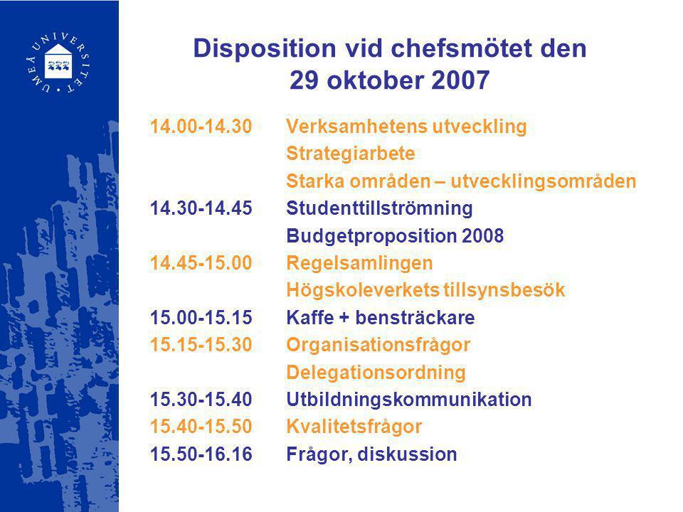 Disposition vid chefsmötet den 29 oktober 2007 14.00-14.30Verksamhetens utveckling Strategiarbete Starka områden – utvecklingsområden 14.30-14.45Stude