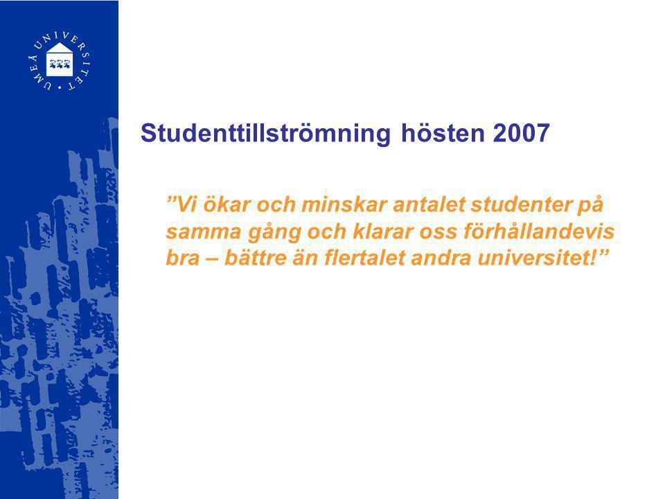 """Studenttillströmning hösten 2007 """"Vi ökar och minskar antalet studenter på samma gång och klarar oss förhållandevis bra – bättre än flertalet andra un"""