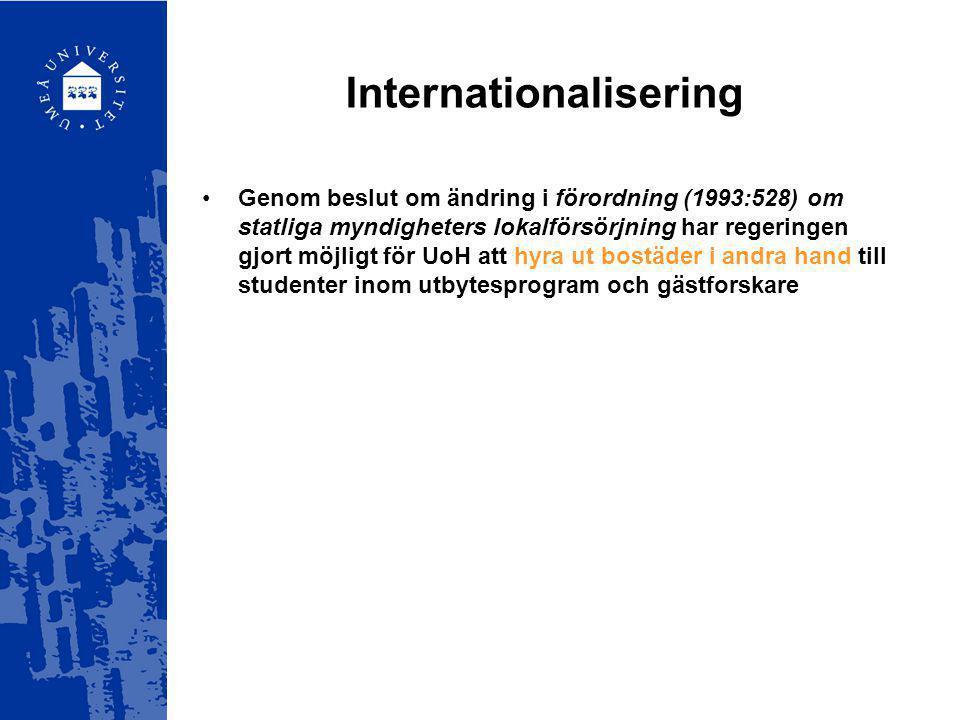 Internationalisering Genom beslut om ändring i förordning (1993:528) om statliga myndigheters lokalförsörjning har regeringen gjort möjligt för UoH at