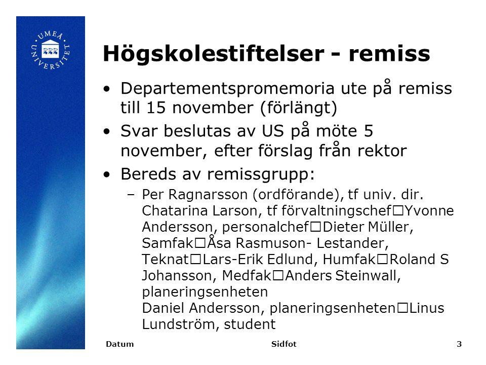 Högskolestiftelser - remiss Departementspromemoria ute på remiss till 15 november (förlängt) Svar beslutas av US på möte 5 november, efter förslag från rektor Bereds av remissgrupp: –Per Ragnarsson (ordförande), tf univ.