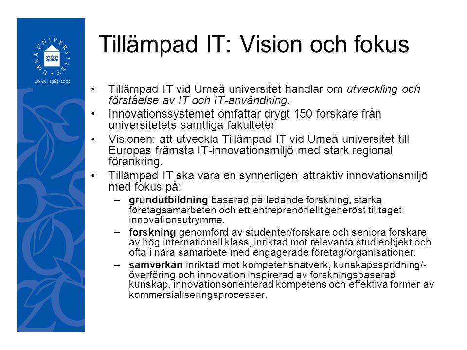 050921 Tillämpad IT: Vision och fokus Tillämpad IT vid Umeå universitet handlar om utveckling och förståelse av IT och IT-användning.