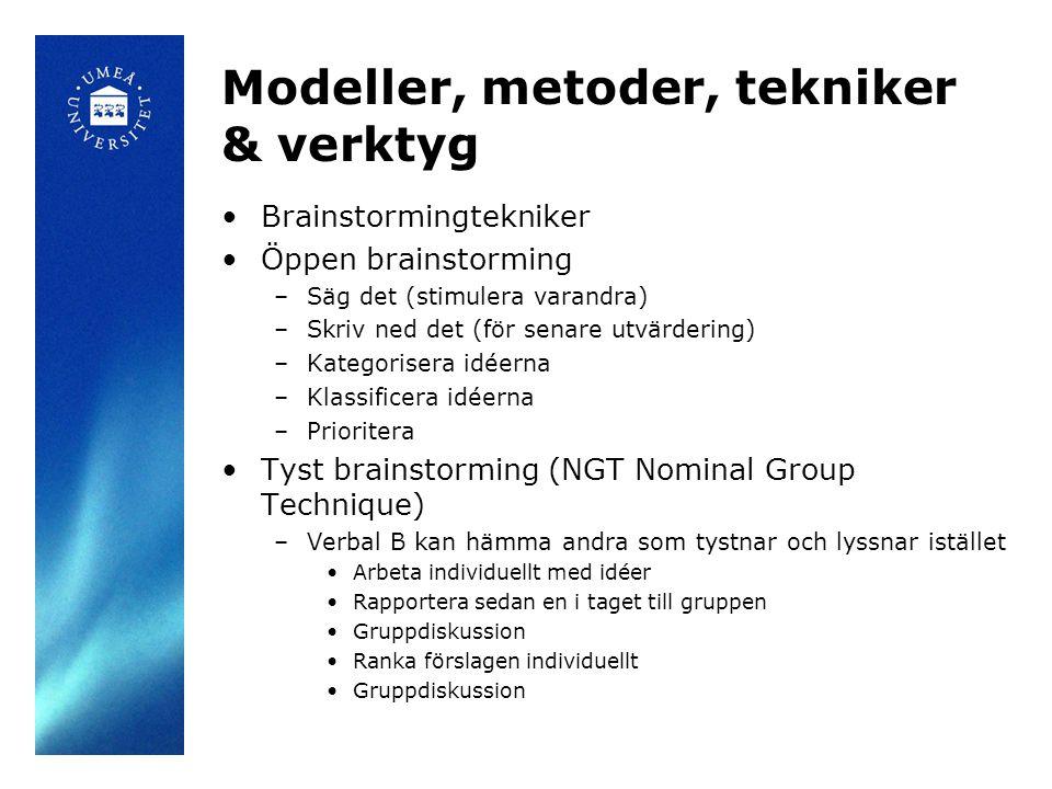 Modeller, metoder, tekniker & verktyg Brainstormingtekniker Öppen brainstorming –Säg det (stimulera varandra) –Skriv ned det (för senare utvärdering) –Kategorisera idéerna –Klassificera idéerna –Prioritera Tyst brainstorming (NGT Nominal Group Technique) –Verbal B kan hämma andra som tystnar och lyssnar istället Arbeta individuellt med idéer Rapportera sedan en i taget till gruppen Gruppdiskussion Ranka förslagen individuellt Gruppdiskussion