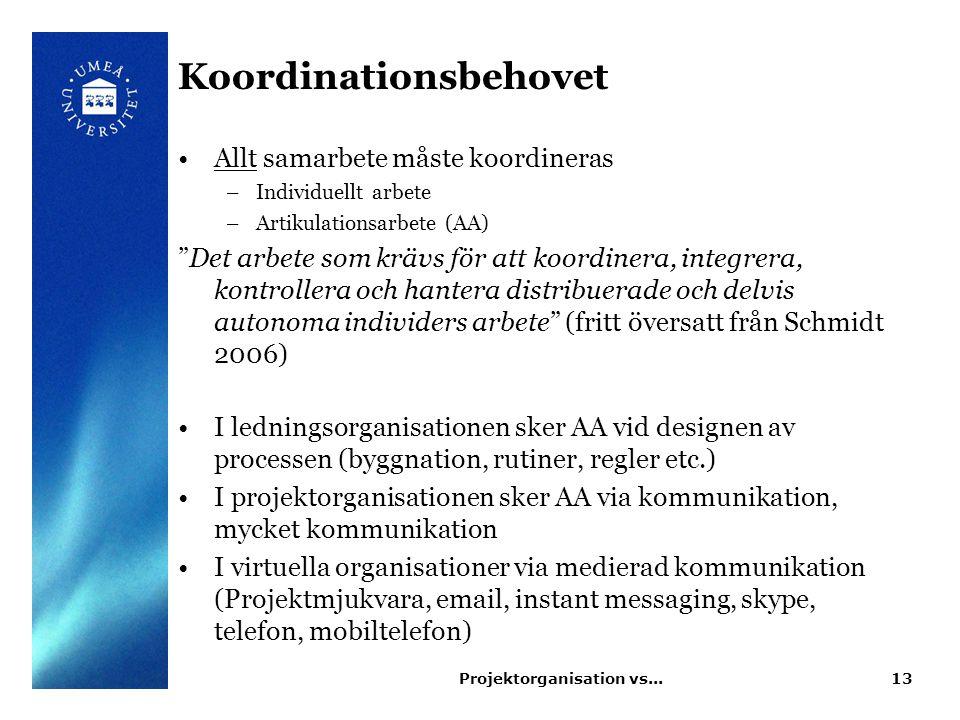 """Koordinationsbehovet Allt samarbete måste koordineras –Individuellt arbete –Artikulationsarbete (AA) """"Det arbete som krävs för att koordinera, integre"""