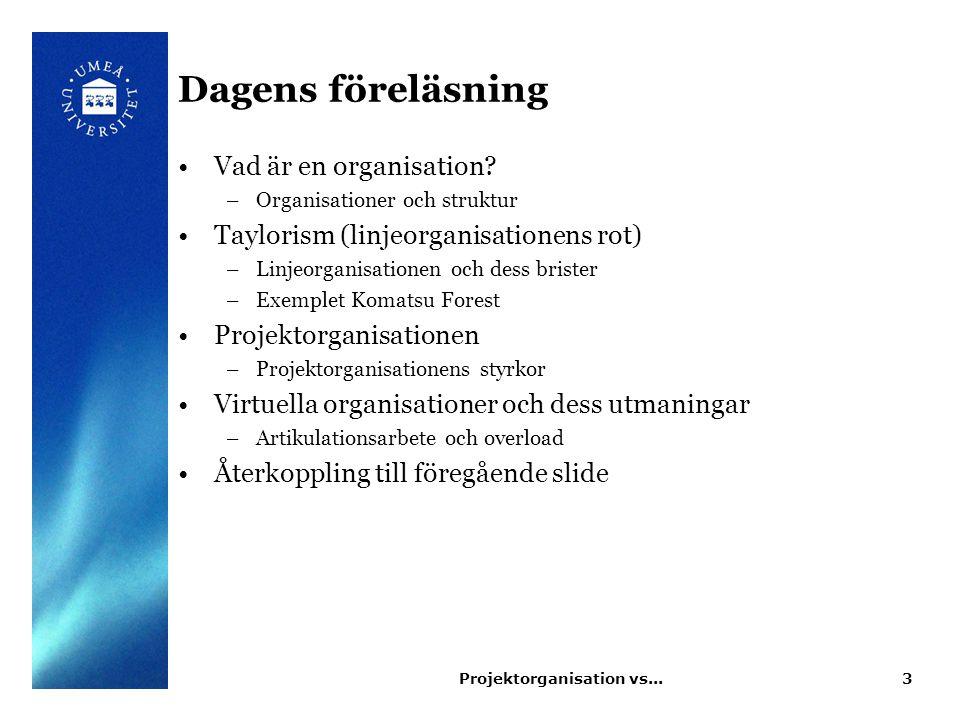 Projektorganisation vs...3 Dagens föreläsning Vad är en organisation? –Organisationer och struktur Taylorism (linjeorganisationens rot) –Linjeorganisa