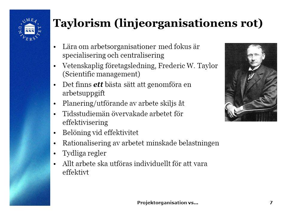 Taylorism (linjeorganisationens rot) Lära om arbetsorganisationer med fokus är specialisering och centralisering Vetenskaplig företagsledning, Frederi