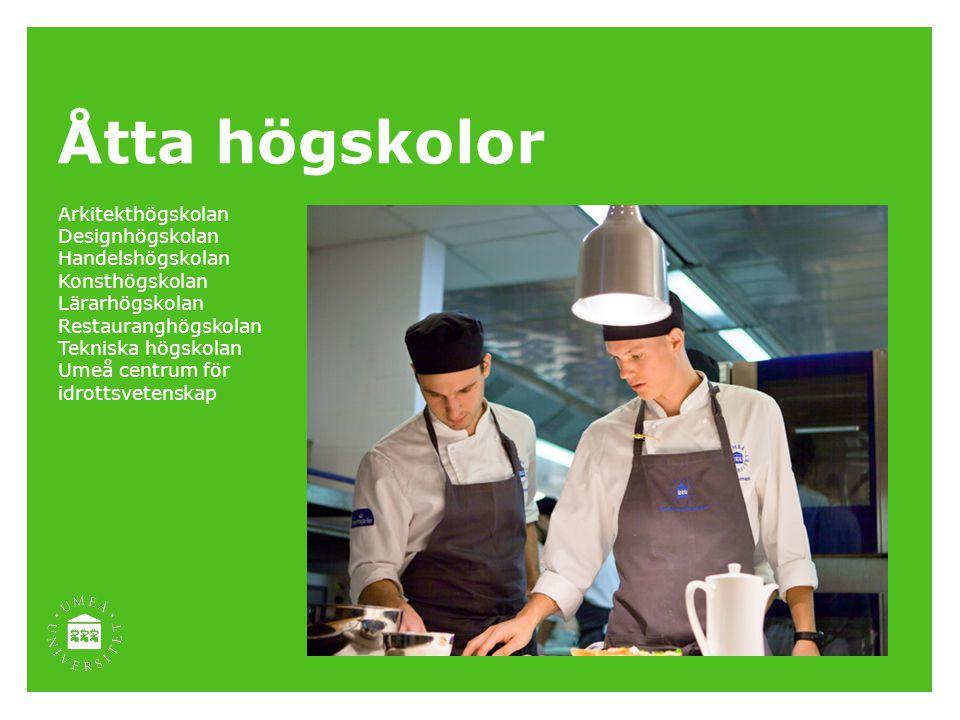 Åtta högskolor Arkitekthögskolan Designhögskolan Handelshögskolan Konsthögskolan Lärarhögskolan Restauranghögskolan Tekniska högskolan Umeå centrum fö