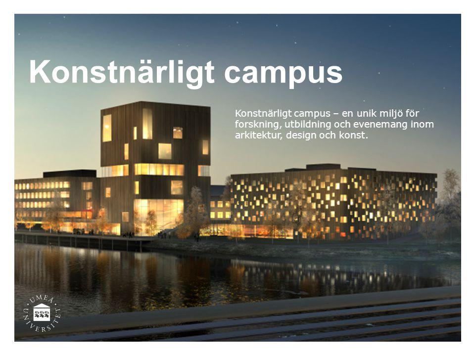 Konstnärligt campus Konstnärligt campus – en unik miljö för forskning, utbildning och evenemang inom arkitektur, design och konst.