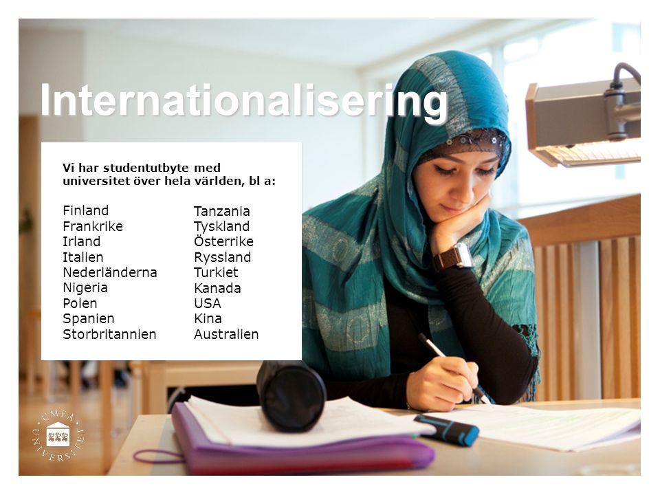 Internationalisering Vi har studentutbyte med universitet över hela världen, bl a: Finland Frankrike Irland Italien Nederländerna Nigeria Polen Spanie