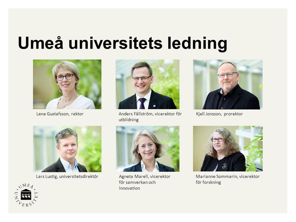 Umeå universitets ledning Marianne Sommarin, vicerektor för forskning Anders Fällström, vicerektor för utbildning Lena Gustafsson, rektorKjell Jonsson