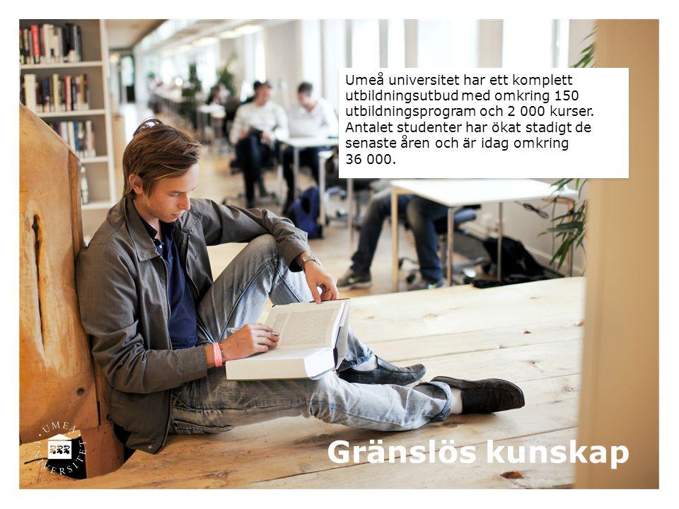 Gränslös kunskap Umeå universitet har ett komplett utbildningsutbud med omkring 150 utbildningsprogram och 2 000 kurser. Antalet studenter har ökat st