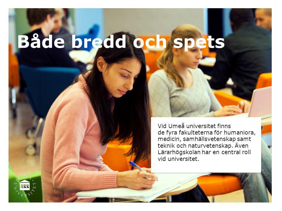 Både bredd och spets Vid Umeå universitet finns de fyra fakulteterna för humaniora, medicin, samhällsvetenskap samt teknik och naturvetenskap. Även Lä