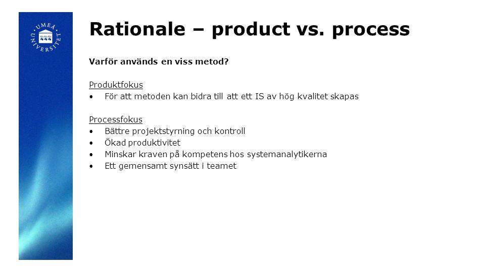 Rationale – product vs. process Varför används en viss metod.