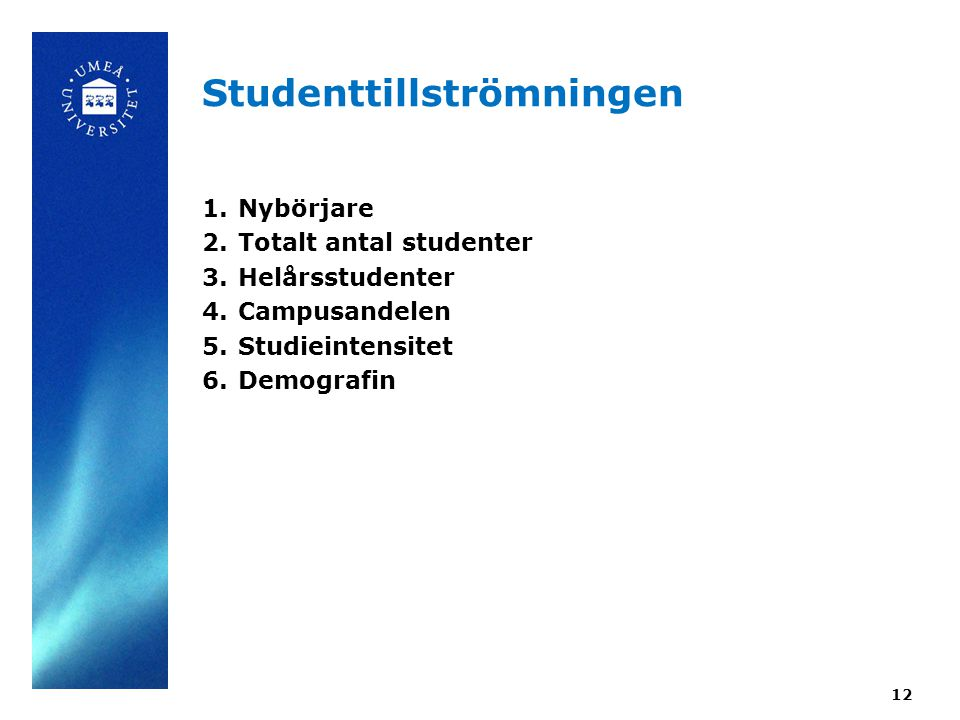 12 Studenttillströmningen 1.Nybörjare 2.Totalt antal studenter 3.Helårsstudenter 4.Campusandelen 5.Studieintensitet 6.Demografin