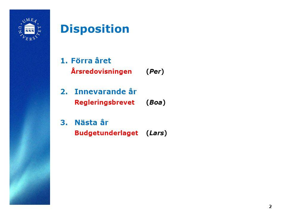 2 Disposition 1. Förra året Årsredovisningen (Per) 2.
