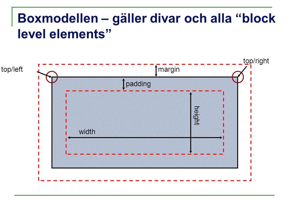 "Boxmodellen – gäller divar och alla ""block level elements"" padding margintop/left width height top/right"
