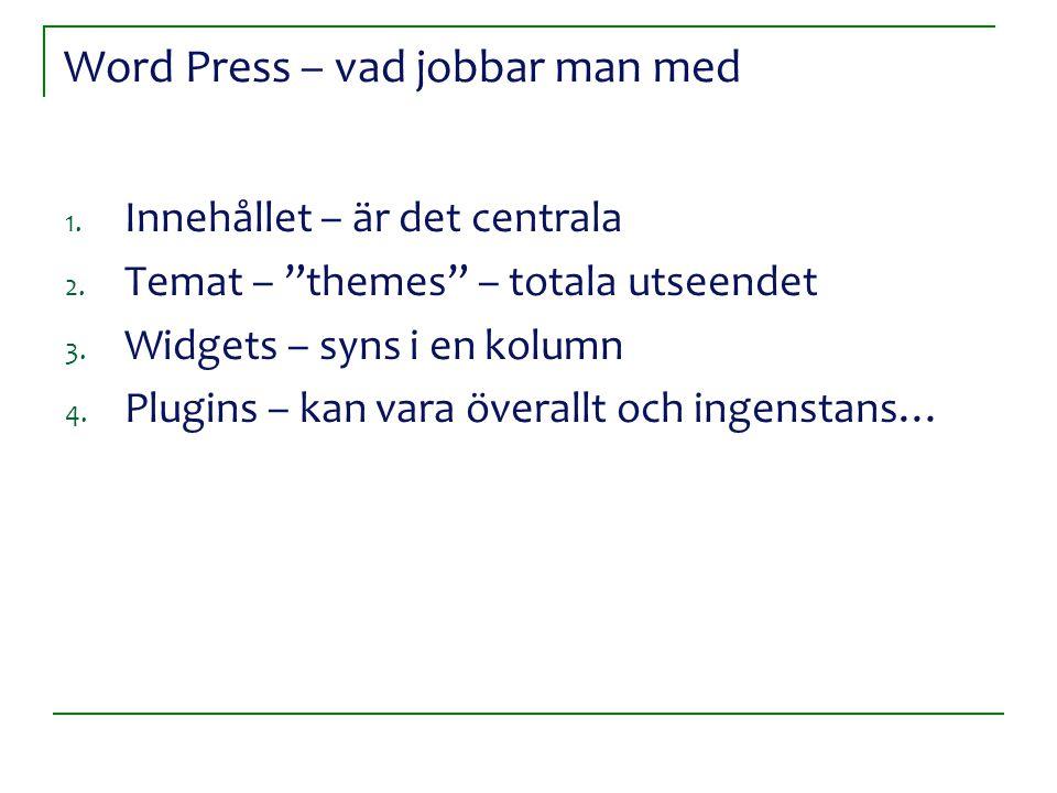 Word Press – vad jobbar man med 1.Innehållet – är det centrala 2.