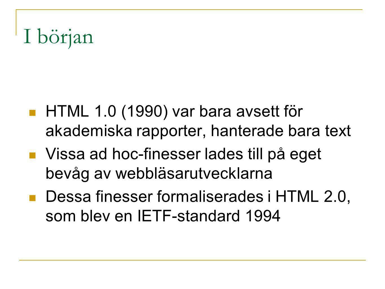 I början HTML 1.0 (1990) var bara avsett för akademiska rapporter, hanterade bara text Vissa ad hoc-finesser lades till på eget bevåg av webbläsarutve