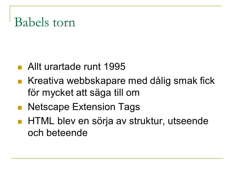 Uppstyrning (~1997) W3C – the World Wide Web Consortium Webben skulle göras tillgänglig för alla Webben skulle bli mer teknikoberoende Väldefinierade, formaliserade, standarder för struktur, utseende och beteende