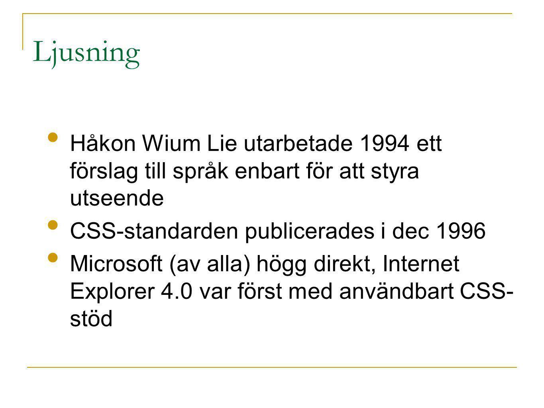 Ljusning Håkon Wium Lie utarbetade 1994 ett förslag till språk enbart för att styra utseende CSS-standarden publicerades i dec 1996 Microsoft (av alla