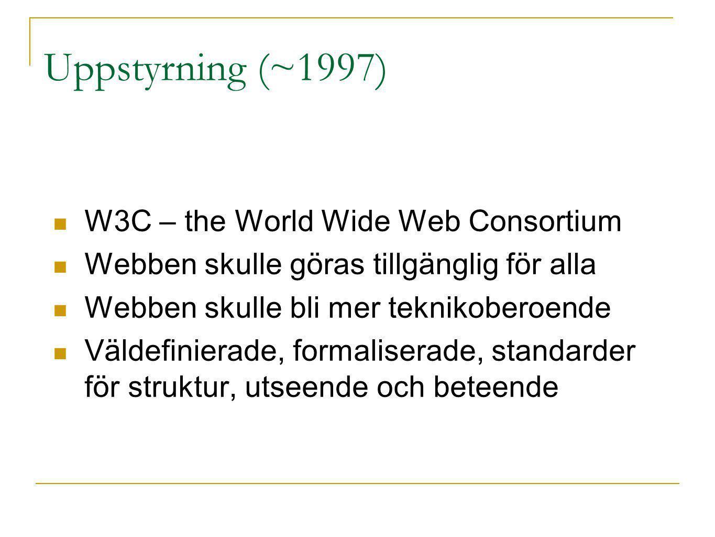 Mer elementreferens ID refererar man till med #-tecken #content { width: 600px; } Klassnamn har en punkt före.newsitem { width: 600px; } Också möjligt att vara mer specifik div.newsitem { width: 600px; } h1#page_title { color: black; }